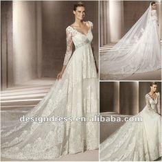 R5911 New Style charming A-line V-neck off the shoulder lace long sleeve wedding gown fashion 2012...oh
