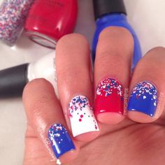 """@just1nail Simple 4th of July mani for You all  The glitter is @hardcandylife """"soda pop"""""""