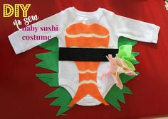I love creating our own Halloween costumes! We started brainstorming on our costume ideas for months before Halloween which helps us . Halloween 2017, Holidays Halloween, Halloween Party, Halloween Costumes, Baby Sushi Costume, Baby Costumes, Baby Sewing, Sew Baby, Baby Art