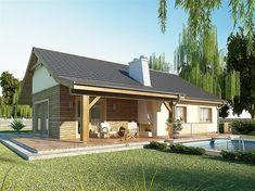 projekt AJR 03 wersja z garażem Cottage Design, House Design, Brick Garden, Resort Style, Design Case, House In The Woods, Bungalow, House Plans, New Homes
