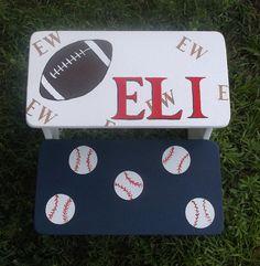 Custom Step Stool SPORTS Baseball Football by spoiltrottn on Etsy