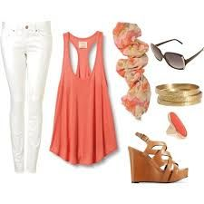 coral oversized tank, white skinnies, chestnut wedge sandals, coral floral circle scarf, gold bangles, coral ring