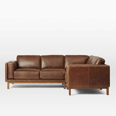 Dekalb Premium Leather 3-Piece Sectional | West Elm