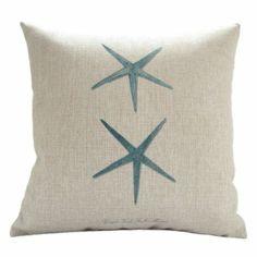 "Amazon.com - MagicPieces Cotton and Flax Ocean Park Theme Decorative Pillow Cover Case D 18"" x 18"" Square Shape #ocean-beach-sea-print-blue-starfish-seahorse-Voyage  $16.99"