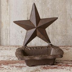 New Country Rustic Brown Cast Iron BARN STAR SOAP DISH Business Card Holder  #Country