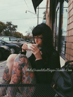 Sipping a Latte.  Leg Sleeve by Timmy B. @ Tattoo Afterlife in Northhampton, MA.  Shin Piece by James Cumberland @ Sunday Tattoo Gallery in Jacksonville, Fl.  You can find me at whitegranulatedsugar.tumblr.com or on Instagram @ErinRoo  Taken by my babely friend Rhiannon (rhiannoncorynn.tumblr.com) at our local coffee shop in Jacksonville, Fl. (www.boldbeancoffee.com)