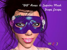 4c1118350 Second Life Marketplace - *DD* Roses & Seqins Mask - GrapeEscape by  Dulcinea