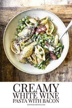 Best Lunch Recipes, Bacon Recipes, Great Recipes, Wine Pasta Sauce, Pasta Sauce Recipes, Pistachio Recipes, Bacon Pasta, Pasta Shapes, Latest Recipe