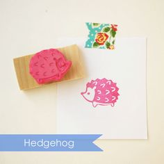 Hedgehog Hand Carved Rubber Stamp. Erizo Puercoespin