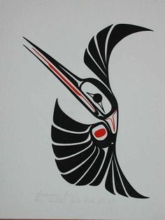 Haida hummingbird - love this! Inuit Kunst, Arte Inuit, Arte Haida, Haida Art, Inuit Art, Art And Illustration, Kunst Der Aborigines, Sketch Manga, 1 Tattoo