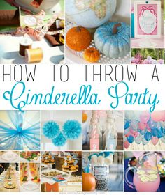 Does your little girl want a Cinderella Party for her birthday? I've included some great ideas for how to throw a Cinderella Party. Cinderella Party Food, Cinderella Party Decorations, Cinderella Theme, Cinderella Birthday, Disney Princess Party, Princess Birthday, Aladdin Princess, Cinderella Pumpkin, Birthday Crowns