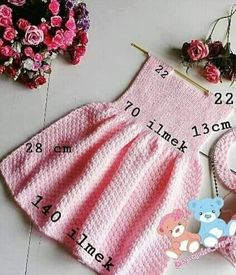 Image may contain: 1 person – # Image # content # person # - Babykleidung Girls Knitted Dress, Knit Baby Dress, Baby Cardigan, Baby Sweater Knitting Pattern, Baby Hats Knitting, Easy Knitting Patterns, Toddler Dress Patterns, Baby Patterns, Diy Crafts Dress