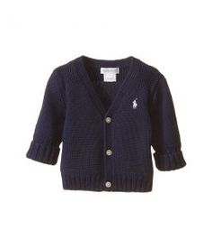 Ralph Lauren Baby Combed Cotton V-Neck Sweater (Infant) (French Navy) Boy's Sweater