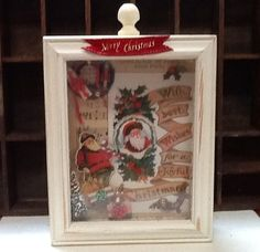 Christmas Shadow Box with miniatures by VintageAnteUps on Etsy, $16.00
