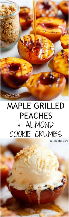 Maple Grilled Peaches with a buttery almond cookie crumb! Caramelised with maple syrup, these grilled peaches make for a decadent and healthier…
