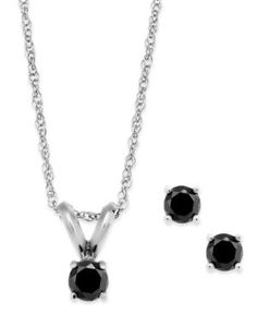 5ccc3f0e0def Black Diamond Jewelry Set in 10k White Gold (1 6 ct. t.w.). Black Diamond  NecklaceDiamond Pendant ...