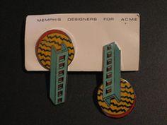Memphis Aldo Cibic Steps Earrings 1985