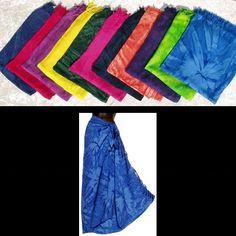 SARONGS WHOLE SALE | Wholesale Single Color Tie-Dye Sarongs with Fringe