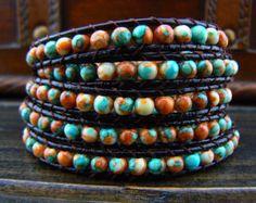 SHOP SALE --5 Wrap Bracelet Rain Flower Stone Bracelet  Leather Bracelet Leather Wrap Bracelet Beaded Bracelet 10658