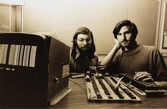 Steve Wozniak and Steve Jobs with an Apple I, 1976