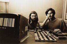 Steve Wozniak and Steve Jobs with an Apple I, 1976