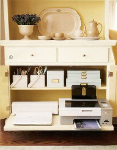 This is exactly what I was thinking for Printer - the pull out tray  MARTHA MOMENTS: The Dining Room Office