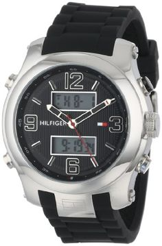 Tommy Hilfiger Mens 1790945 Cool Sport AnalogDigital and Black Silicone Strap Watch ** Read more  at the image link.Note:It is affiliate link to Amazon.