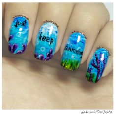 Just keep swimming [Freehand Nail Art]