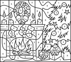 Christmas Fireplace - Printable Color by Number Page - Hard