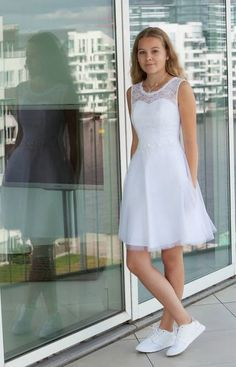Elegant White Tulle Pearls Prom Dress, Short Homecoming Dress, A Line Prom Dresses Confirmation Dresses, Baptism Dress, Lace Midi Dress, White Dress, White Tulle, Lace Homecoming Dresses, Party Dresses, Communion Dresses, Elegant Dresses