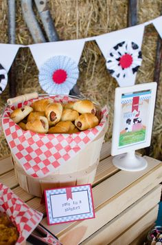 Pigs in a blanket at a Farm party! See more party ideas at CatchMyParty.com!