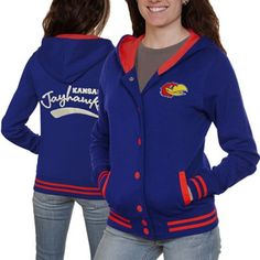 LIMITED TIME: All sweatshirts, jackets and hats are marked down 15-40% at Fanatics. Get this sweatshirt for only $42.46: http://pin.fanatics.com/COLLEGE_Kansas_Jayhawks_Ladies/Kansas_Jayhawks_Ladies_Varsity_Blues_Full_Button_Hoodie_-_Royal_Blue/source/pin-kansas-sweats-sale-sclmp
