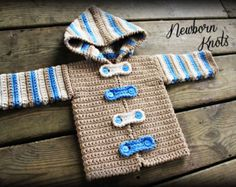 CROCHET PATTERN for Baby Boy or Girl Striped Hoodie Sweater/Cardigan. Pattern number 027. Instant Download