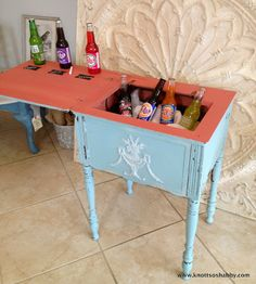 Re-purposing with style and flair...hand painted by Veronica of Bliss and Blossom Designs using Miss Mustard Seed's Milk Paint Eulalie's Sky and a mix of Mustard Seed and Tricycle for the coral.