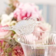 Vintage Lace Party Supplies Bird Place Cards for Glass £3.99 10pk