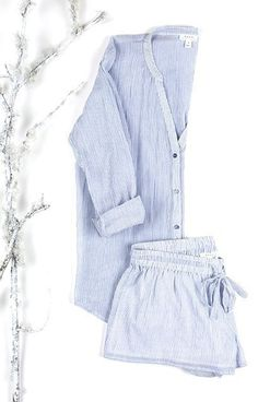 COMFY PJS From the Joie Holiday Gift Guide: Our Devan pajama set in subtly sheer cotton features a menswear inspired pinstripe print, collarless shirt with optional roll up sleeve tabs, button front with split v-neck and matching drawstring shorts. Cute Pjs, Cute Pajamas, Pyjamas, Pajamas For Teens, Mein Style, Nightwear, Lingerie Sleepwear, Pulls, Dress To Impress