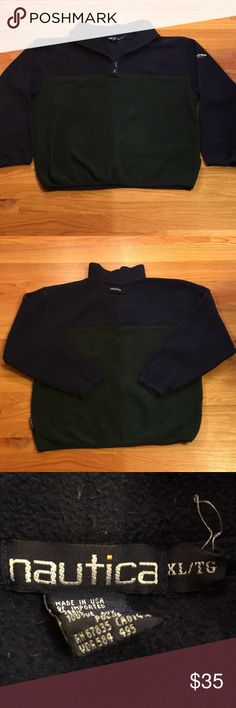 VINTAGE MEN'S NAUTICA COLORBLOCK FLEECE SWEATER Size: XL (can fit a large), navy blue and green-colored quarter-zip sweater with Nautica North Island logo on left sleeve and Nautica name on upper back.  In amazing condition!!  Serious offers no lowballing.  Tags: nautica, nautica competition, nautica sailing, nautica north island, j-class sailing, vintage, retro, polo ralph lauren, tommy hilfiger, supreme, color block, bape, stussy, yeezy, nike, adidas, vineyard vines Nautica Sweaters