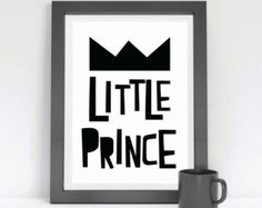 Little Prince // Printable Wall Art / Baby Shower Gift / Black & White Print / Children's Room / Kids Room Art / Nursery / Boys Room Art