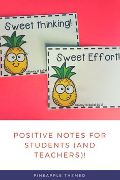 Pineapple themed positive notes for students. Great for pineapple chart teacher observations too! PBIS