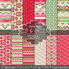 Red and green tribal paper, Red green tribal pattern, Red green tribal background, Red green tribal scrapbook, Red green aztec digital paper