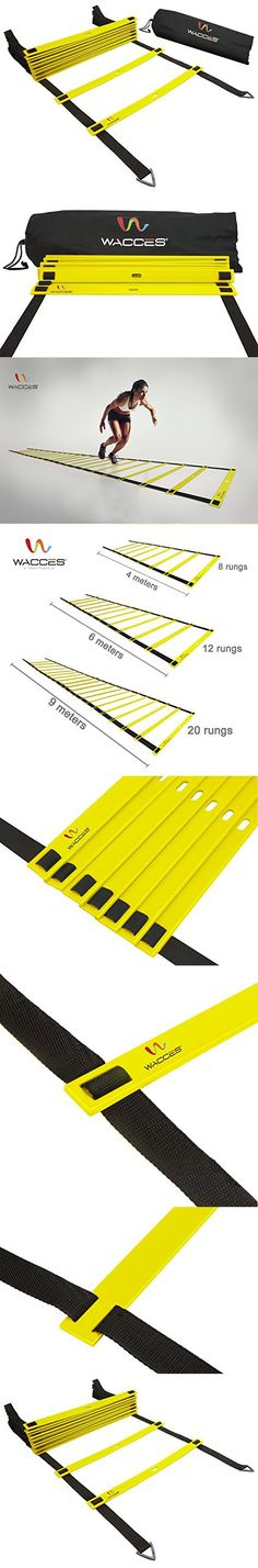 Wacces Speed Super Flat Adjustable Speed Agility Ladder for Soccer, Speed, Football, Fitness with Free Carry Bag ( 8 Rungs - Yellow )