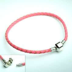 """(Pink 8.3""""/ 21cm) Real Leather Bracelet Fit Beads Pandora Chamilia, Zable, Carlo Biagi Pro Jewelry. $7.99. Fits: All major Brand Bracelets, such as Pandora, Troll, Chamilia, Carlo Biagi, Zable, and other add-a-bead bracelets.. (Pink 8.3""""/ 21cm)Leather Classic Bead Barrel Clasp European Italian Bracelet Fit for Pandora, Biagi, Troll, Chamilia Beads Charms.. Material: Silver Plated Clip and Real Leather. and 2 Silicone Stopper beads"""