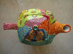 Hand painted tea pot by Nini Violette