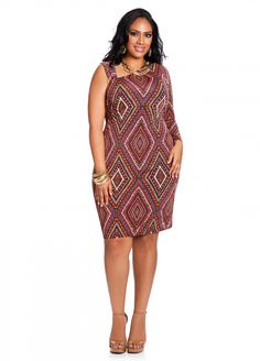 Ashley Stewart: Web Exclusive: One-Sleeve Graphic Print Dress