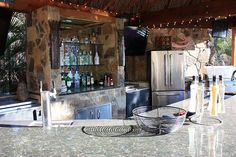 Outdoor kitchen and bar! #outdoor #home #kitchen