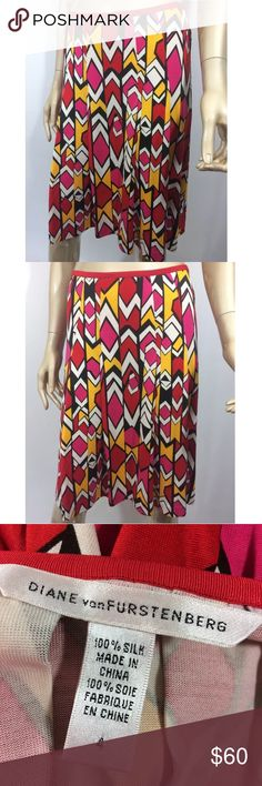 Diane Von Furstenberg vintage retro silk skirt 4 Diane Von Furstenberg vintage retro funky pleated skirt in size 4. 100% silk. Measurements : All measurements are taken with item laying flat -  14' Waist  23' Length     Excellent Used Condition - No holes, rips, stains, or other noticeable wear. Diane Von Furstenberg Skirts Midi