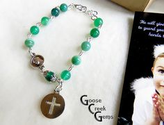 Rosary Bracelet with Green Striped Agate by GooseCreekGems on Etsy
