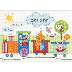 """Train Birth Record Counted Cross Stitch Kit-7""""X5"""" 14 Count"""