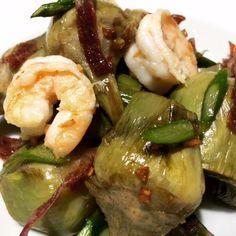 La cocina de Monis: Alcachofas confitadas con jamón ibérico, trigueros y langostinos