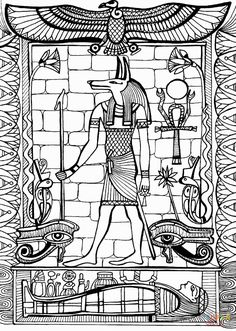 Anubis, God of Ancient Egypt - Egypt & Hieroglyphs Coloring Pages for Adults - Just Color Ancient Egyptian Religion, Egyptian Symbols, Egyptian Art, Ancient Egypt Pictures, Ancient Egypt For Kids, Anubis, Egypt Cat, Egypt Concept Art, Egyptian Drawings